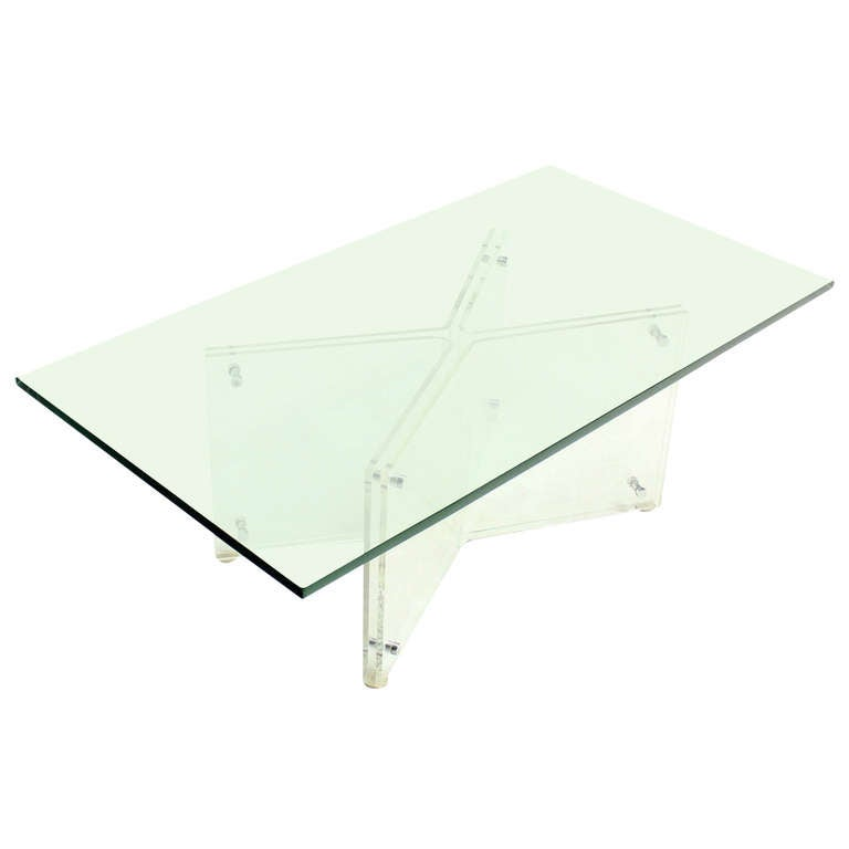 Mid-Century Modern Lucite Base and Glass-Top Coffee Table