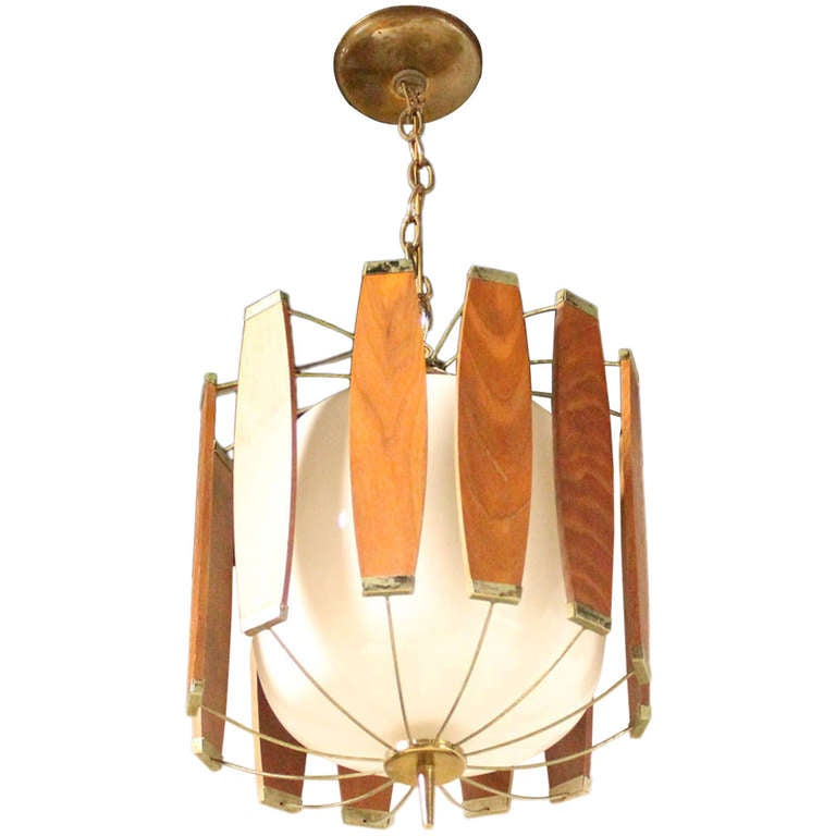Vintage Teak And Brass Mid Century Danish Modern Light Fixture Chandelier For