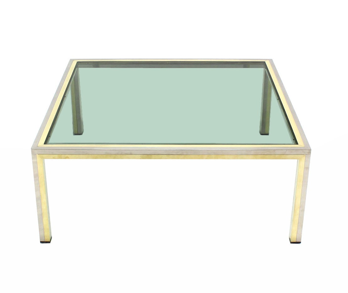 Square brass chrome and glass coffee table by romeo rega for Brass and glass coffee table