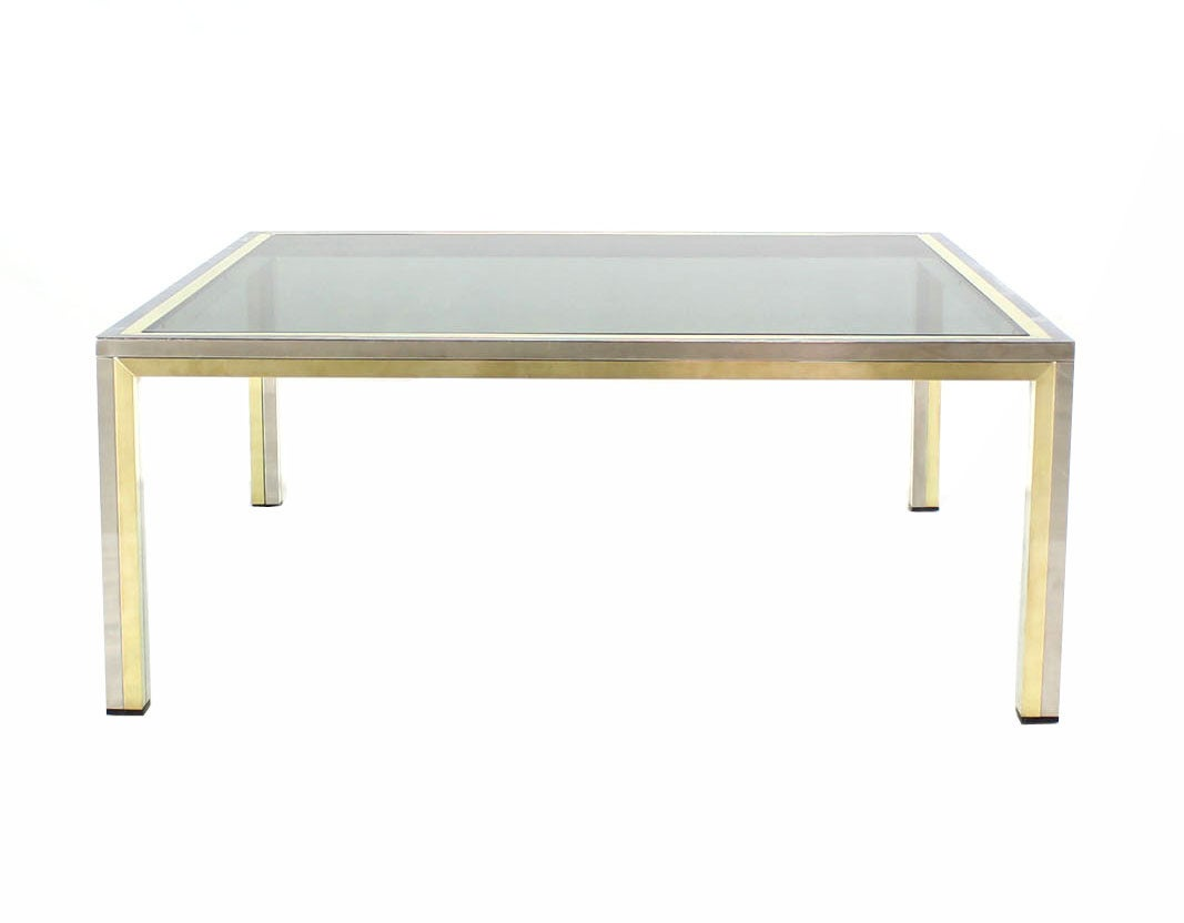 Square Brass Chrome And Glass Coffee Table By Romeo Rega For Sale At 1stdibs
