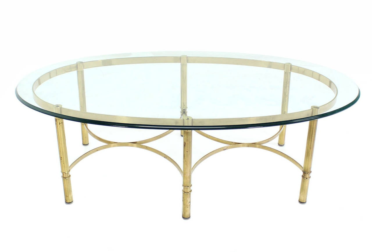 Oval Brass And Glass Coffee Table For Sale At 1stdibs