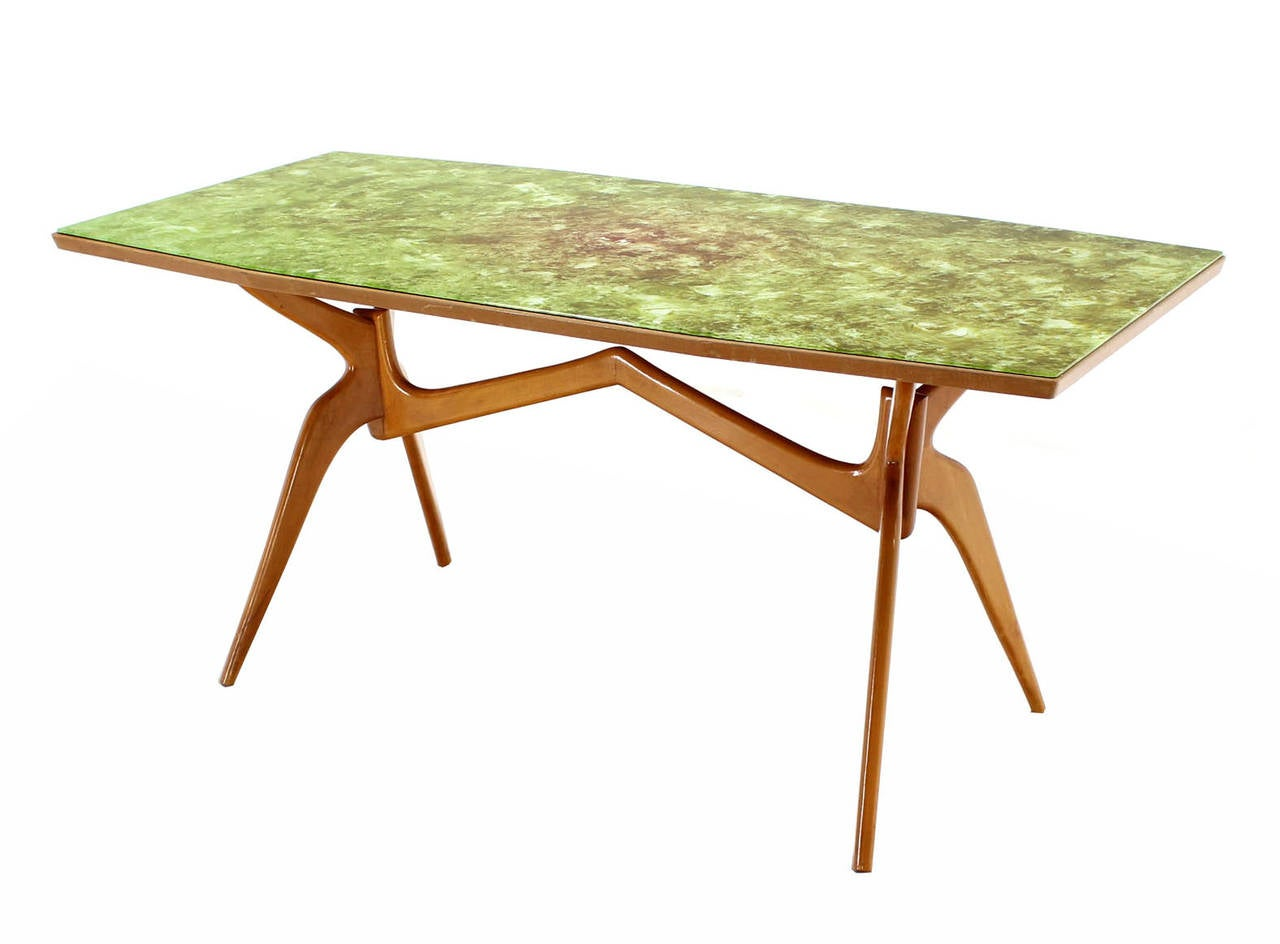 Italian Mid Century Modern Dining Table With Art Glass Top 2