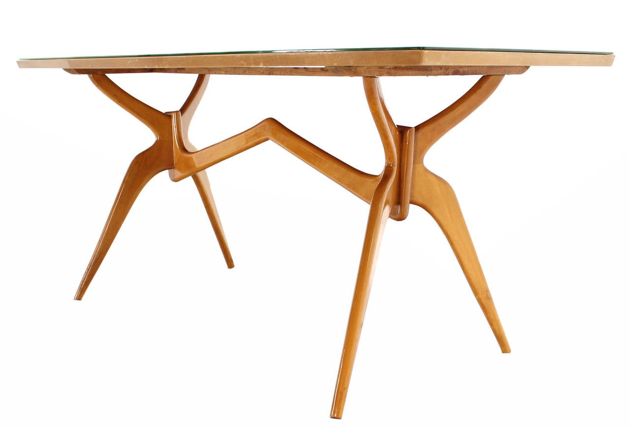 Italian Mid Century Modern Dining Table With Art Glass Top