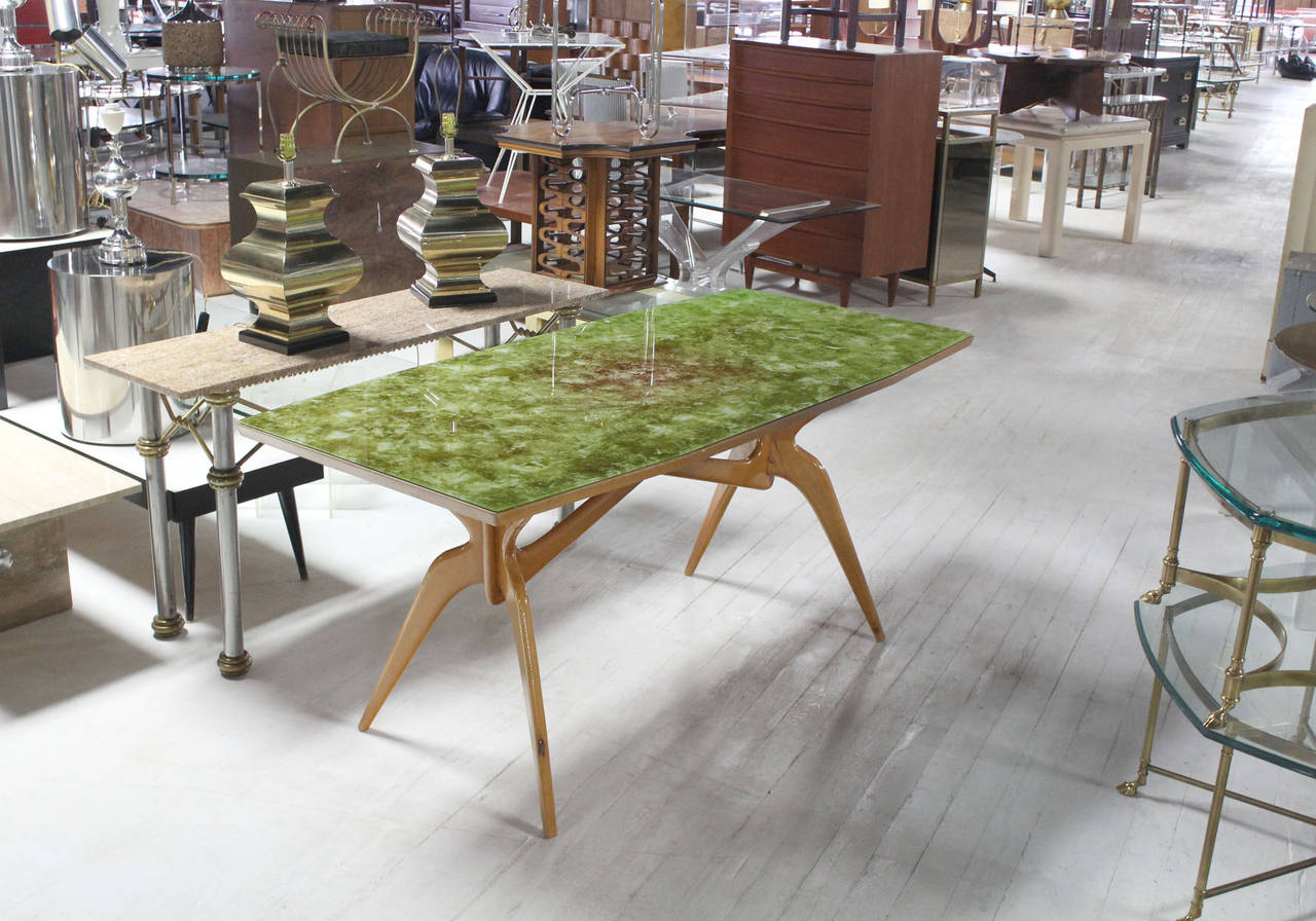 Mid Century Modern Dining Room Table italian mid-century modern dining table with art glass top at 1stdibs