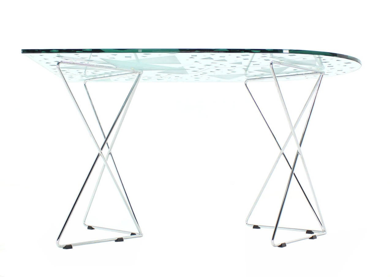 Unusual shape pattern art glass dining table chrome wire for Unusual shaped dining tables