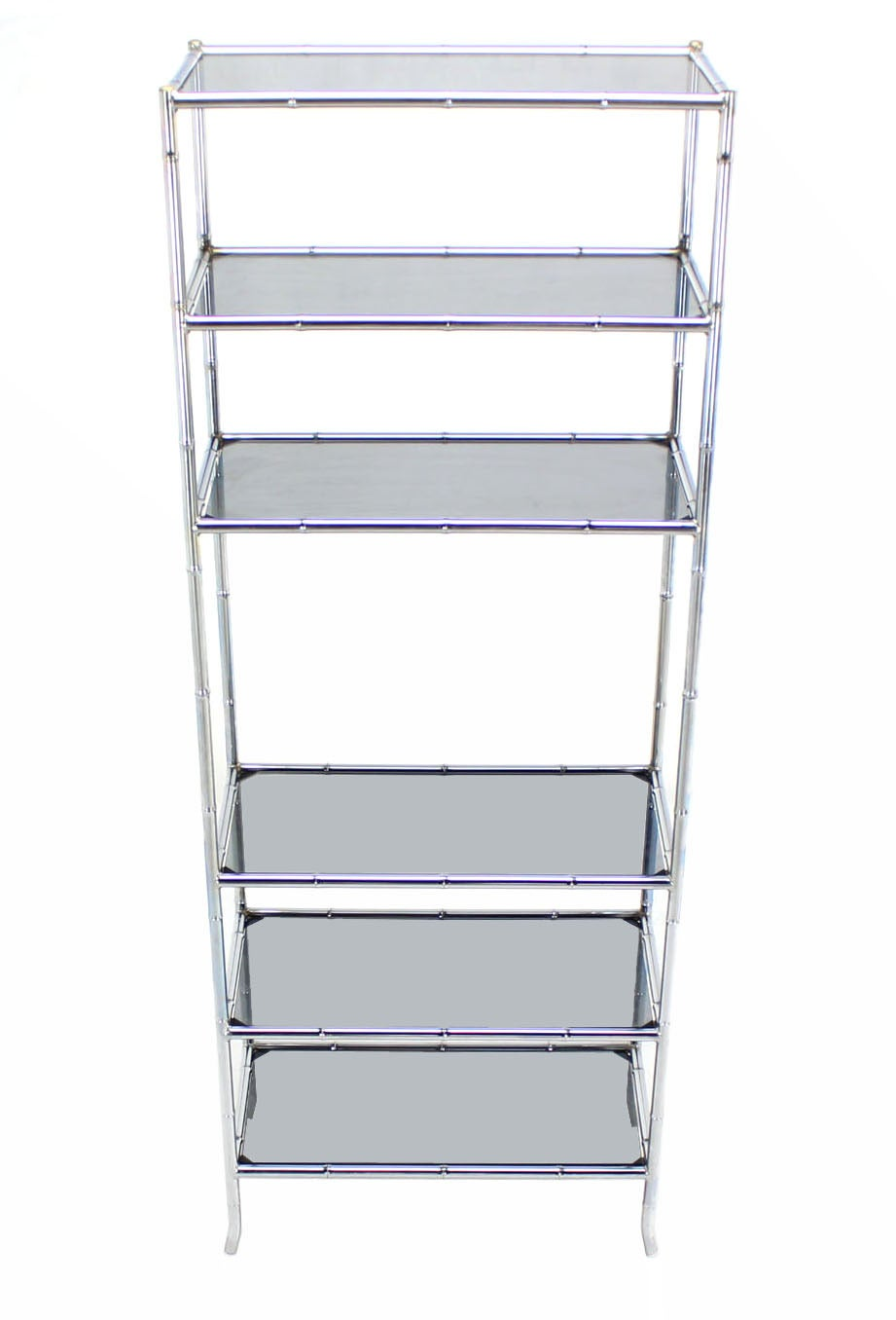 chrome faux bamboo etagere unit with smoked glass shelves at 1stdibs. Black Bedroom Furniture Sets. Home Design Ideas