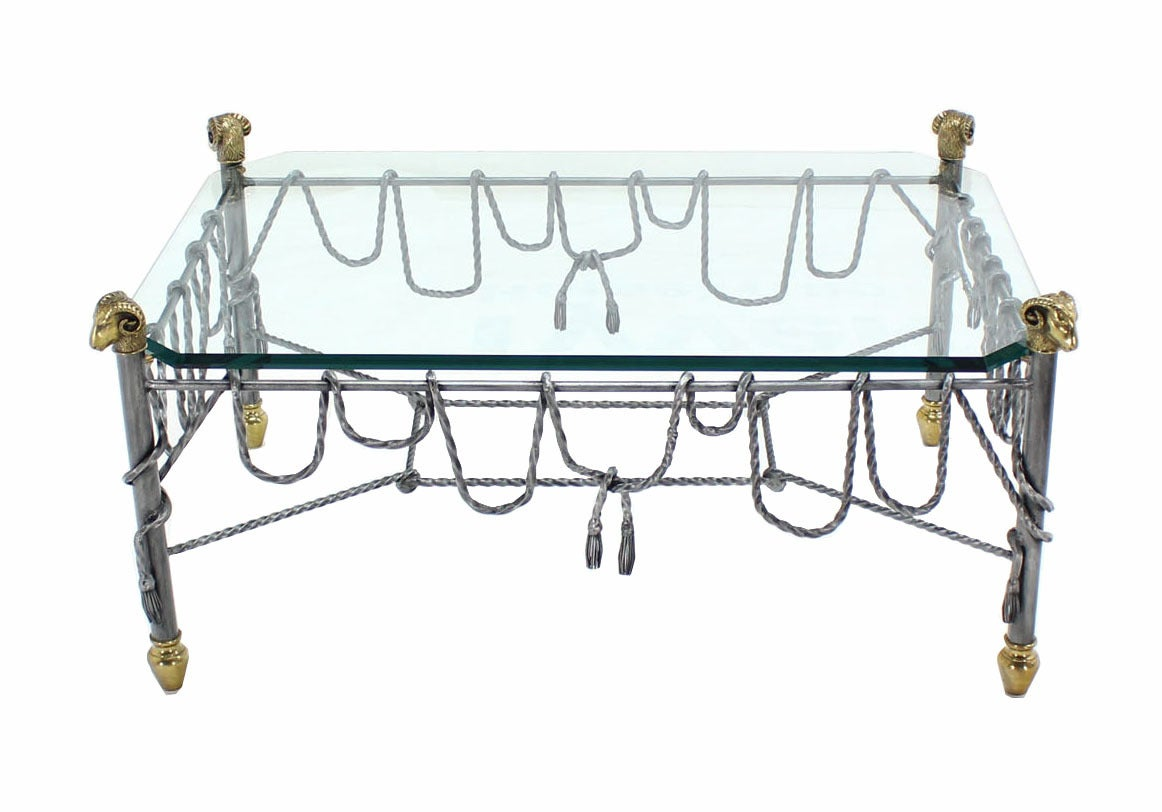 American Ornate Wrought Iron Brass and Glass Coffee Table For Sale