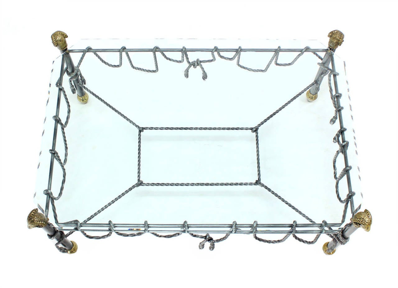 Mid-Century Modern Ornate Wrought Iron Brass and Glass Coffee Table For Sale