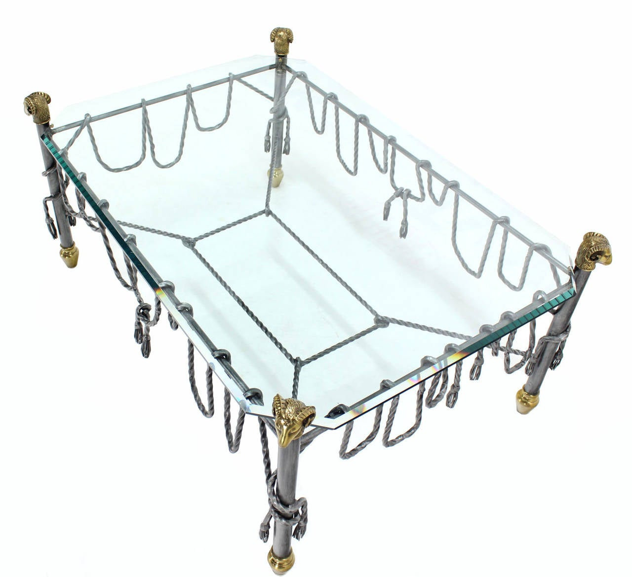 20th Century Ornate Wrought Iron Brass and Glass Coffee Table For Sale