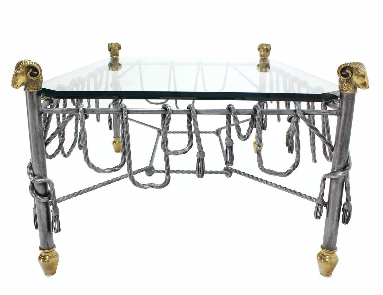Ornate Wrought Iron Brass and Glass Coffee Table For Sale 1