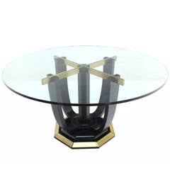 Round Glass-Top Center or Dining Table