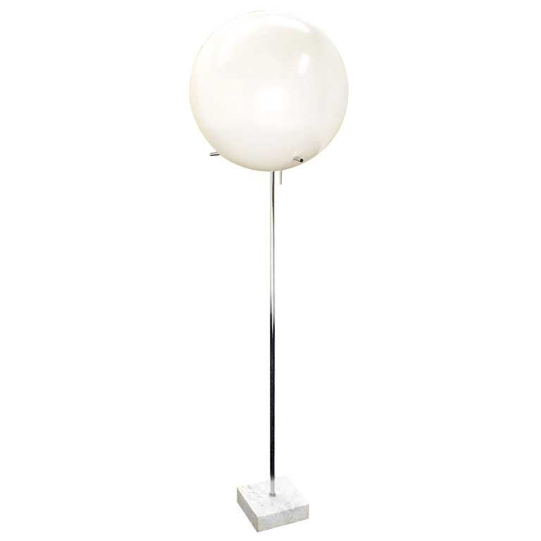 mid century modern marble base ball shade floor lamp at 1stdibs. Black Bedroom Furniture Sets. Home Design Ideas
