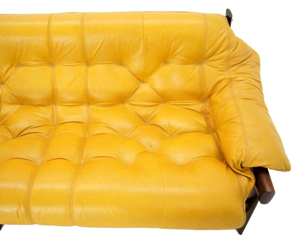 Italian Leather Sofa Edmonton: Brazilian Modern Rosewood Leather Sofa By Laper At 1stdibs