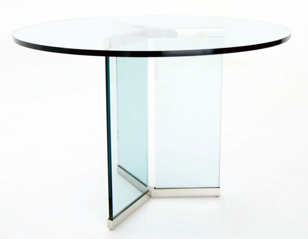 Pace Collection 34quot Thick Glass Top Center Dining Table  : 883713134419964 from www.1stdibs.com size 1000 x 777 jpeg 32kB