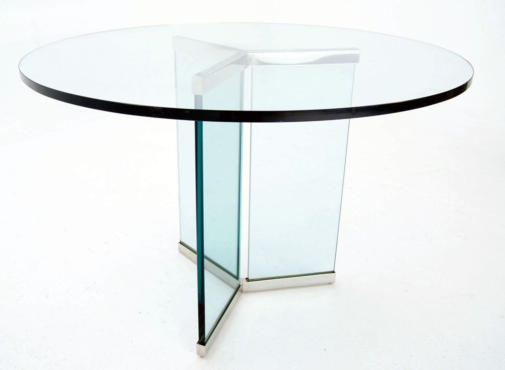 Pace Collection 3 4 Thick Glass Top Center Dining Table At 1stdibs
