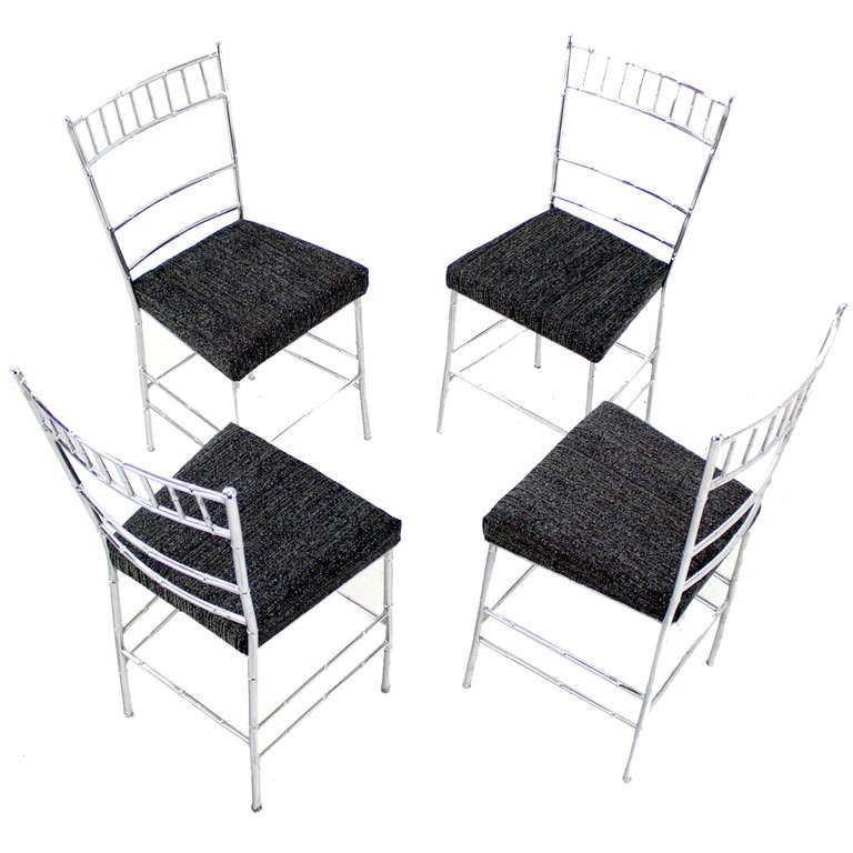 set of four midcentury modern faux bamboo chrome dining chairs 1