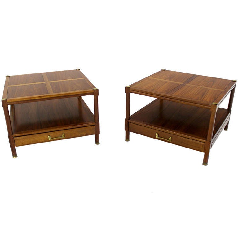 Pair Of Mid Century Modern Walnut End Tables Or Stands By Henredon 1
