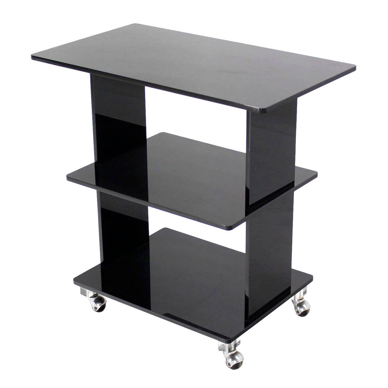 Smoked Lucite Rolling Cart Serving Table For Sale At 1stdibs