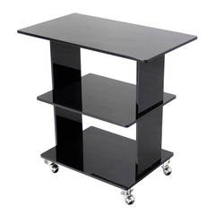 Smoked Lucite Rolling Cart Serving Table