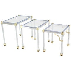 Set Of Three Chrome And Brass Nesting Tables