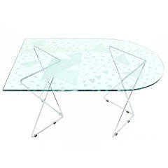 Pattern Etched Top Art Glass Dining Table with Chrome Wire Base Signed