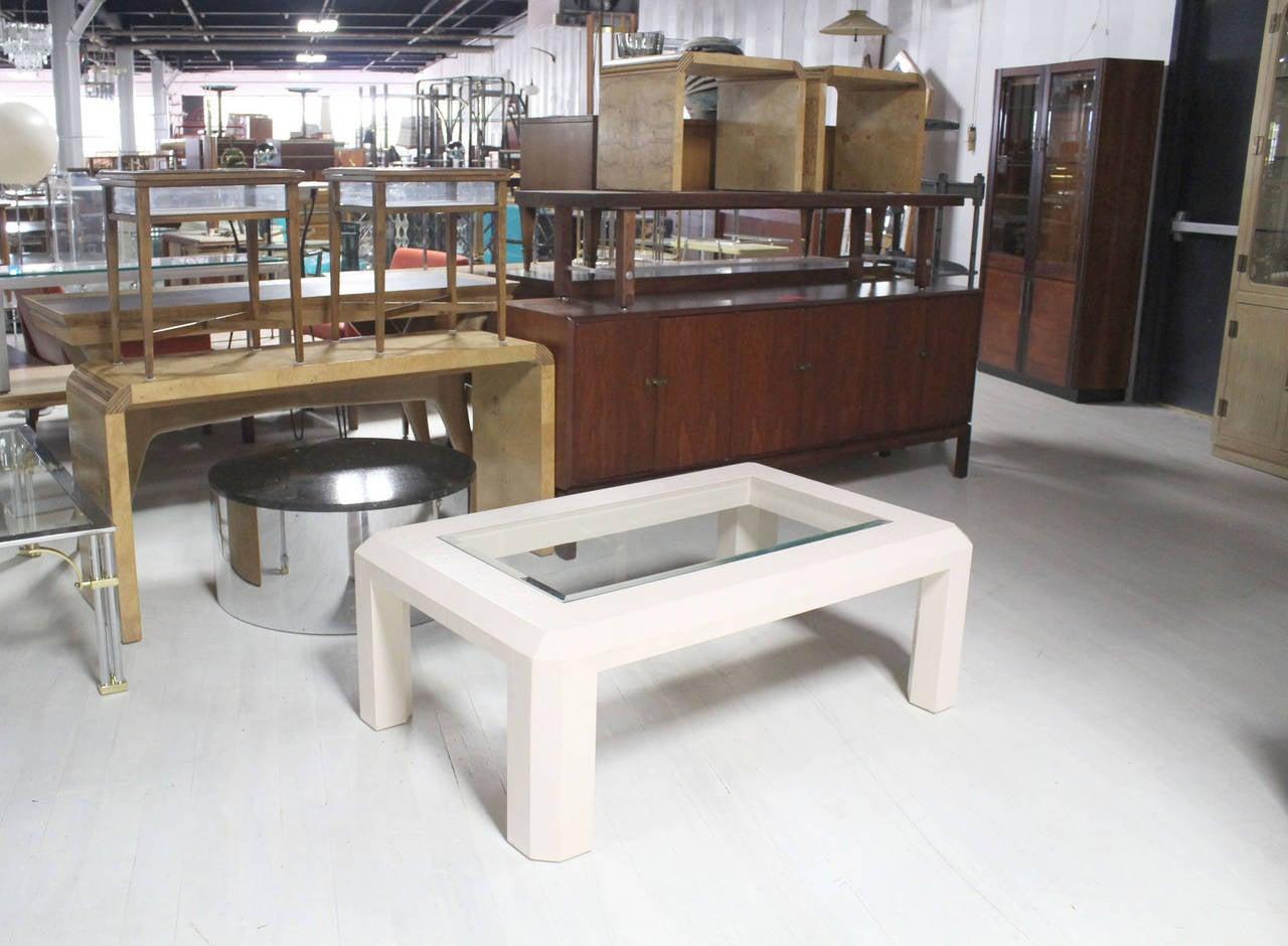 textured grass cloth rectangular glass top coffee table