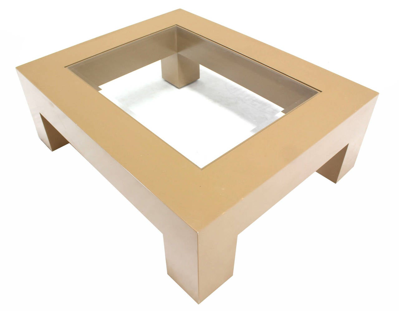 Geometrical rectangular beige lacquer base with glass top coffee table for sale at 1stdibs Glass coffee table base