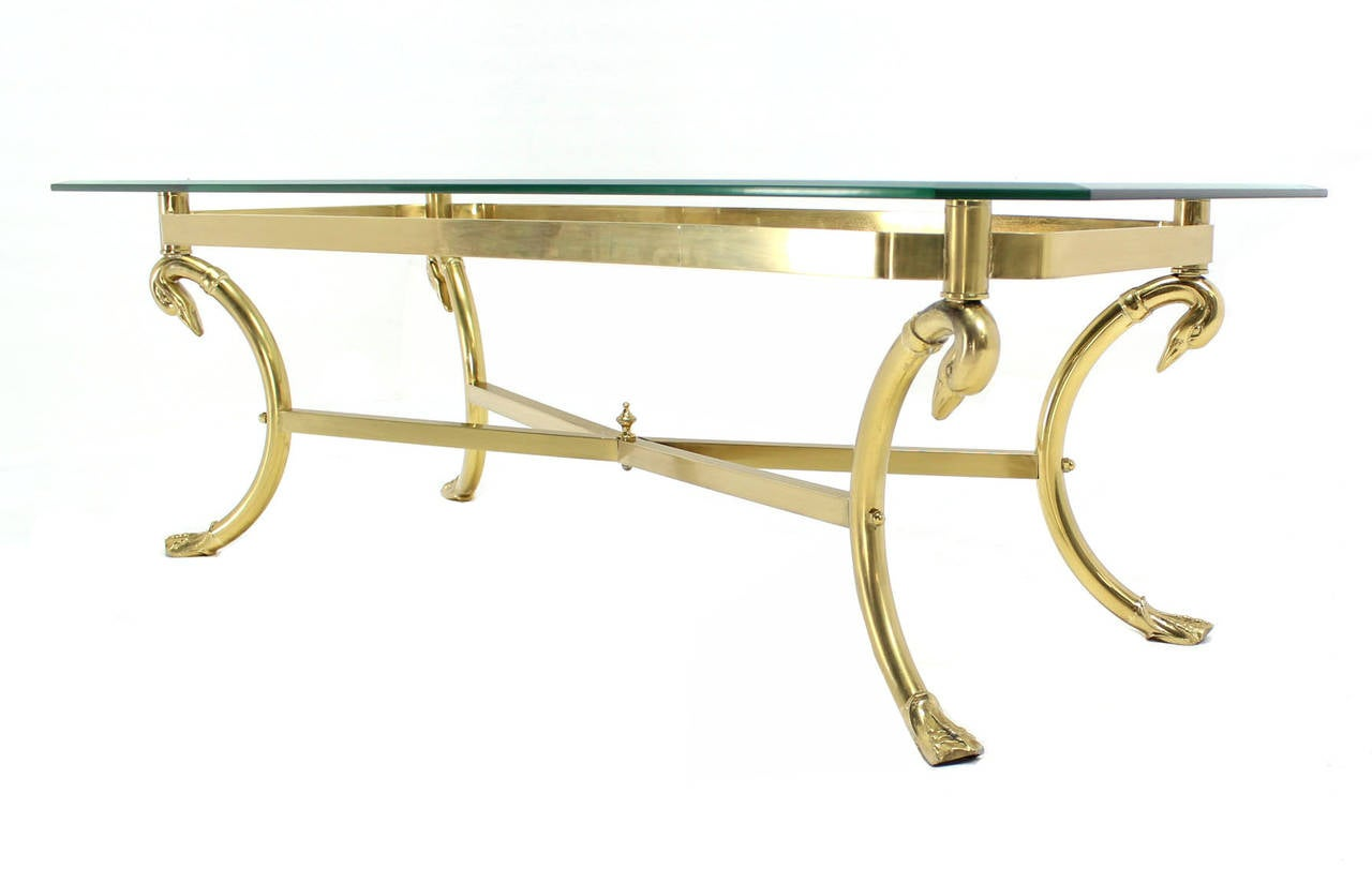 Solid Brass Base And Glass Top Rectangular Coffee Table At 1stdibs
