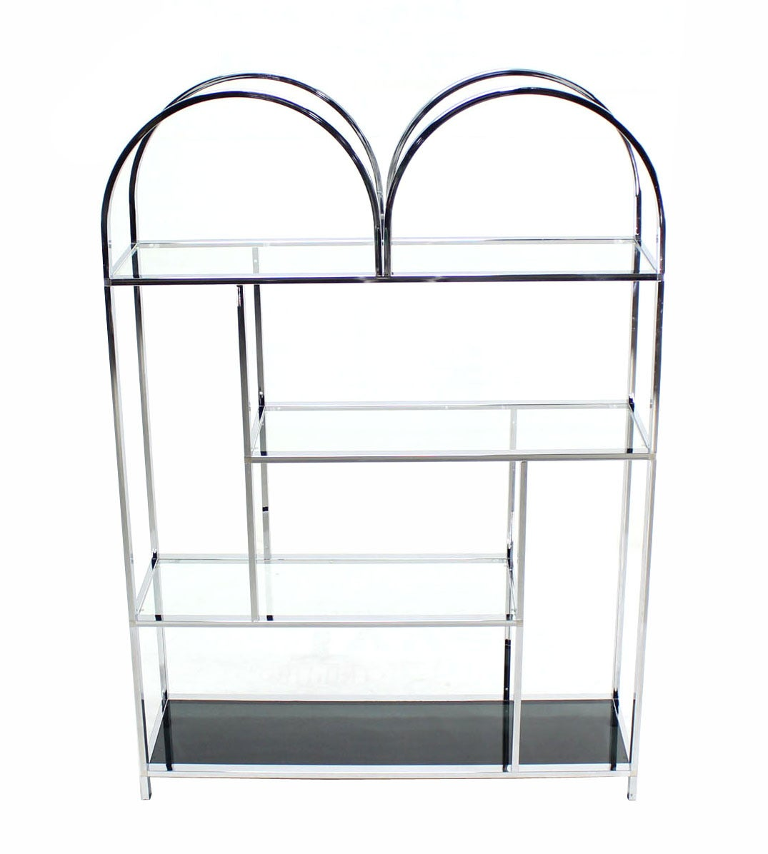 large and wide chrome and glass etagere at 1stdibs. Black Bedroom Furniture Sets. Home Design Ideas