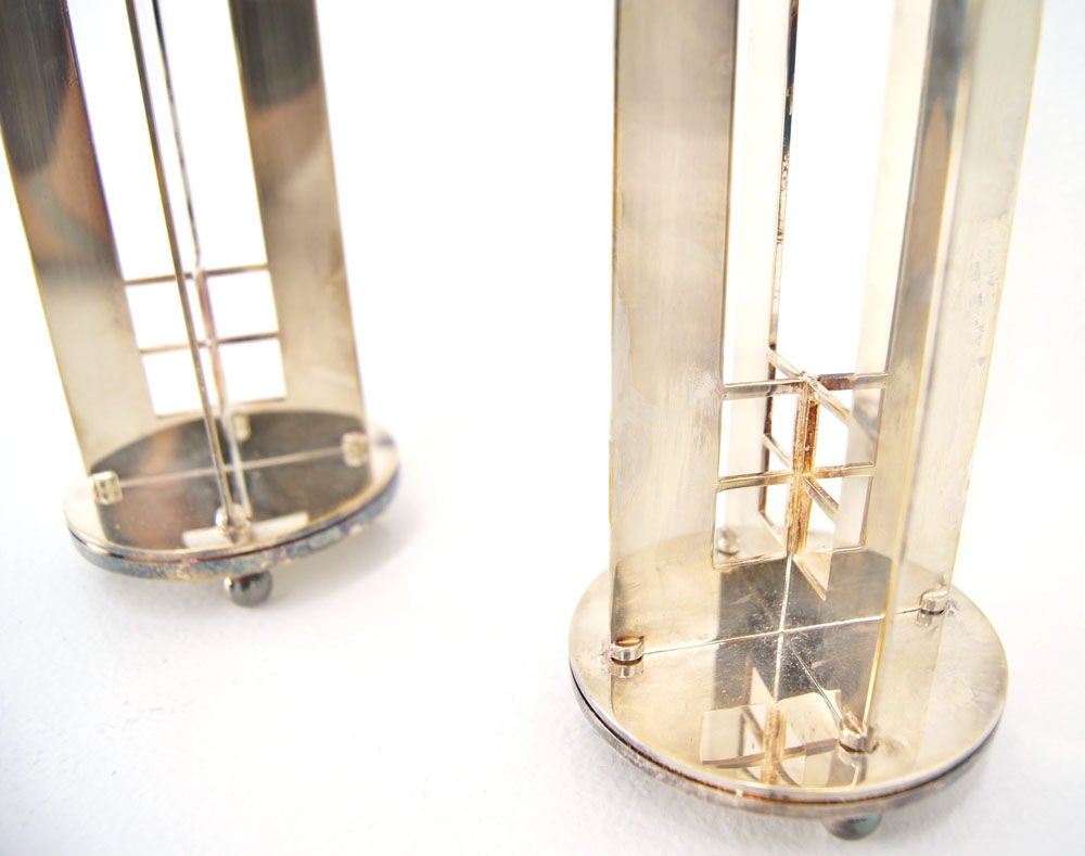 Pair of Richard Meier for Swid Powell silverplate candlesticks. image 3
