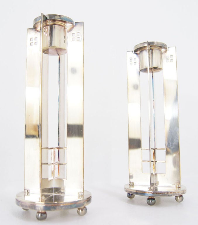 Pair of Richard Meier for Swid Powell silverplate candlesticks. image 7