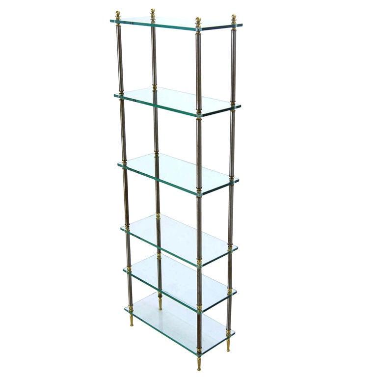 modern mixed media metal glass etagere shelf at 1stdibs. Black Bedroom Furniture Sets. Home Design Ideas