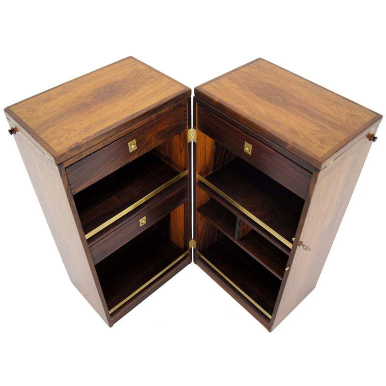 Delightful Mid Century Danish Modern Rosewood Stow Or Fold Away Bar Cabinet For Sale