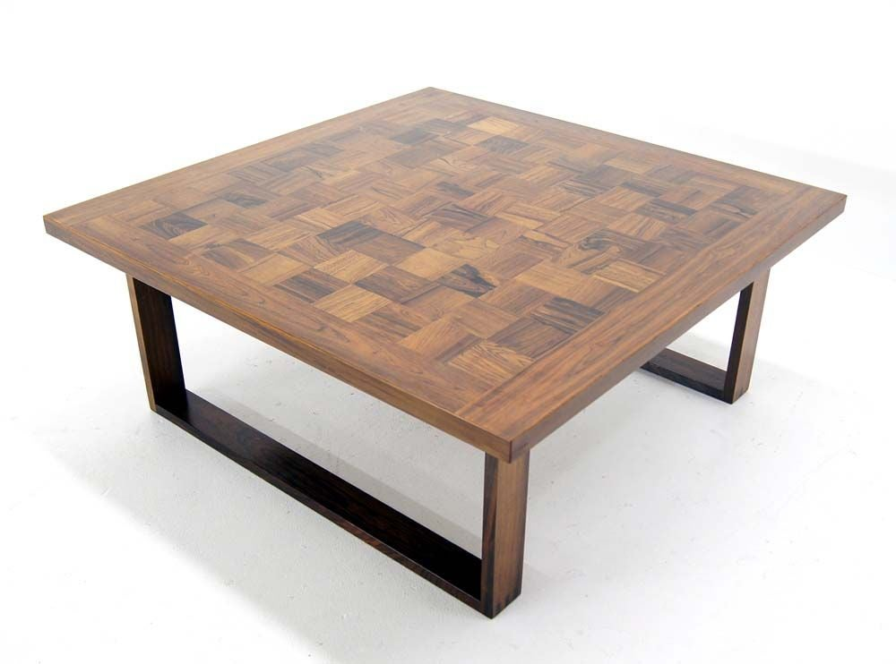 Danish Modern Square Parquet Rosewood Coffee Table By Paul Cadoviuos