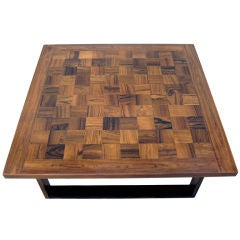 Danish Modern Parquet Rosewood Coffee Table by Paul Cadoviuos