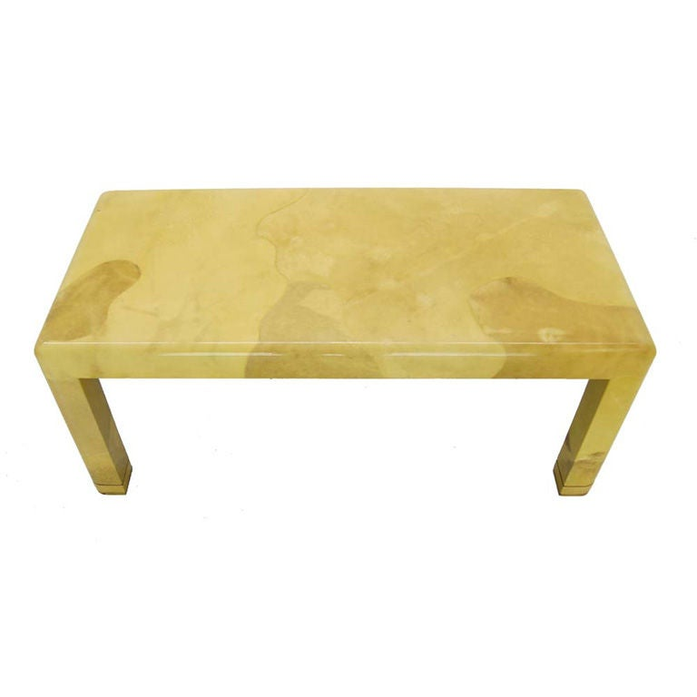 Fine Mid Century Modern Goat Skin Parchment Coffee Table In Brass 1