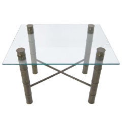 Faux Bamboo Glass-Top Coffee Table