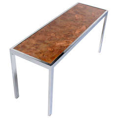 Chrome and Copper-Top Baughamn Style, Mid-Century Modern Console or Sofa Table