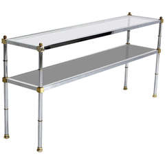 Chrome Brass and Glass, Two-Tier Console or Sofa Table, Mid-Century Modern