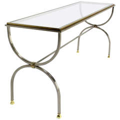 Chrome, Glass, and Brass U-Shape Console or Sofa Table, Mid-Century Modern
