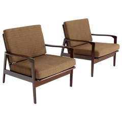 Pair Of Oriental Mid Century Modern Rosewood Kidney Shape Lounge Chairs At 1
