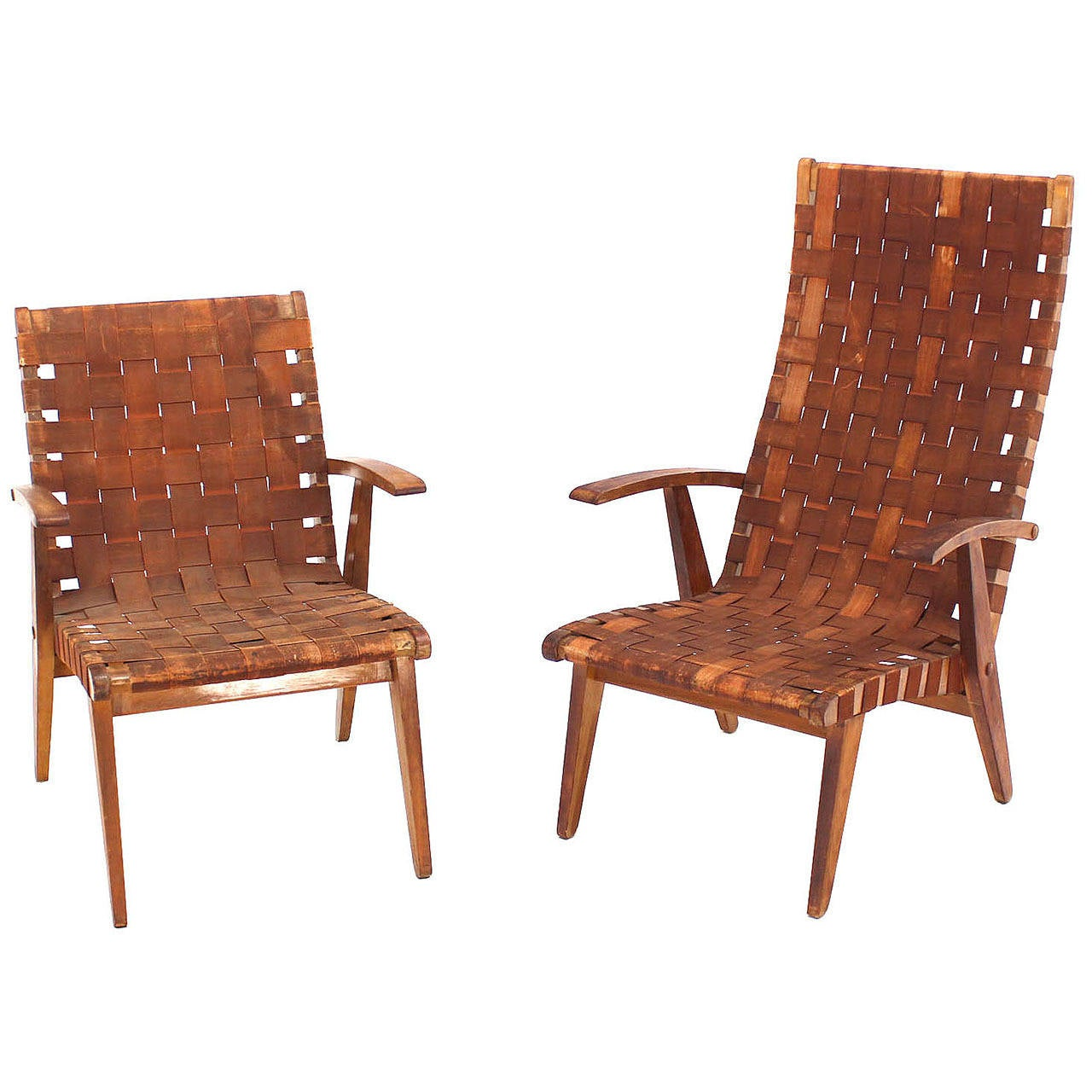 Non matching pair of early jens risom lounge chairs at 1stdibs for Matching lounge furniture