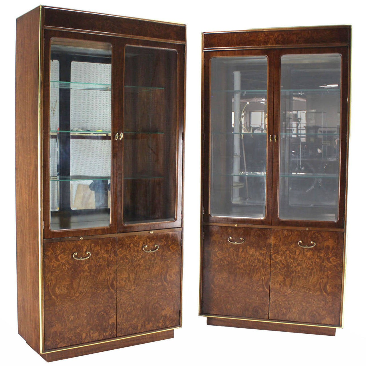 Pair of Burl Walnut  Brass and Glass Show Case Curio Cabinets