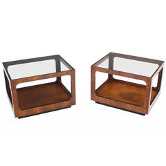 Pair Rectangular Cube Shape Glass top Walnut End Tables