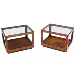Pair Rectangular Cube Shape Glass top Walnut End Tables