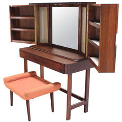 Rosewood Art Deco Open Up Vanity with Light and Matching bench
