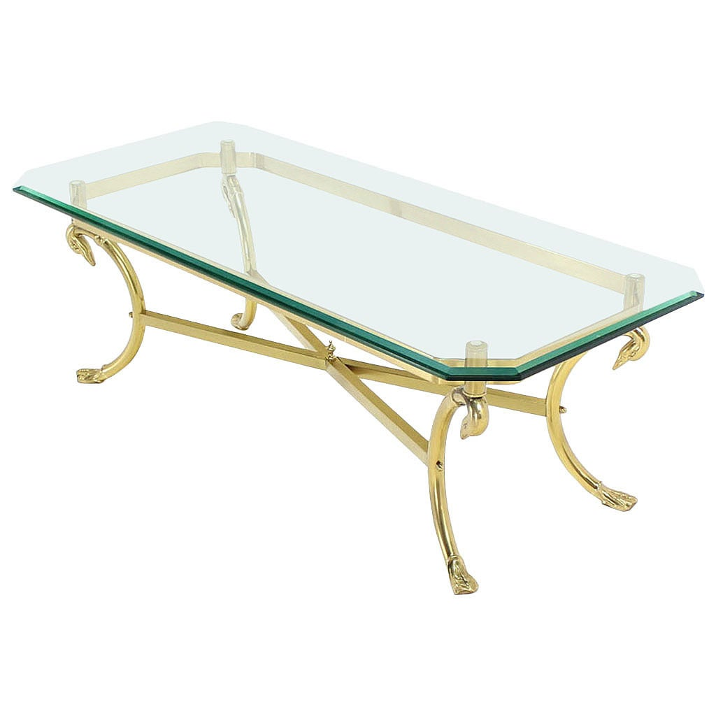 Solid brass base and glass top rectangular coffee table at 1stdibs Glass coffee table base