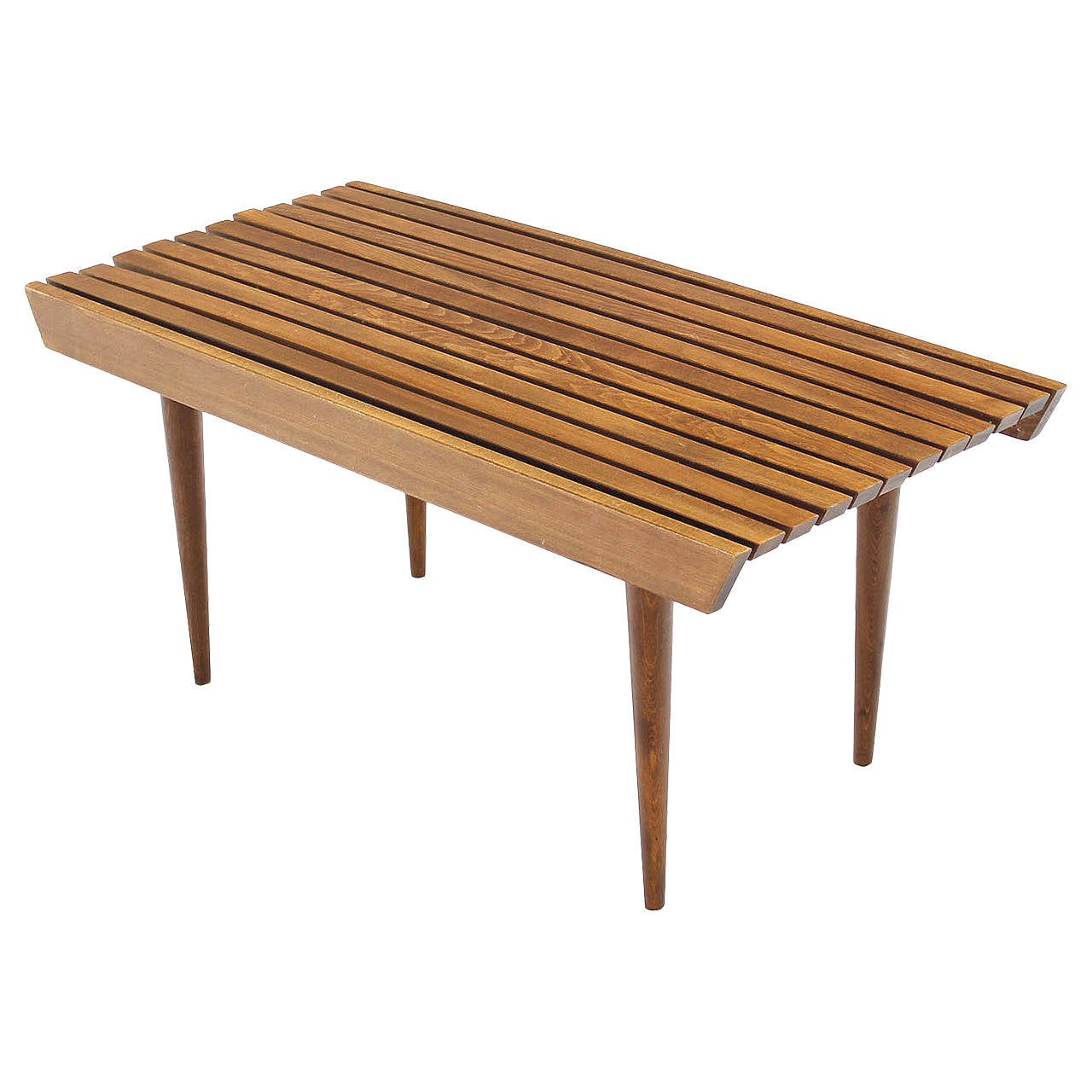 Mid Century Solid Wood Small Platform Slat Bench Or Coffee: Danish Modern Slat Wood Bench At 1stdibs