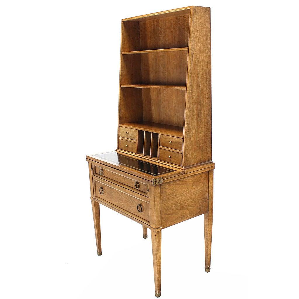 Baker Modern Petite Secretary Tall Bookcase On Slim Legs For