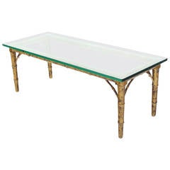 Lacquered Wood Faux Bamboo with Glass Top Rectangular Coffee Table